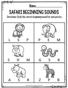 Preschool Worksheets Safari Beginning Sounds