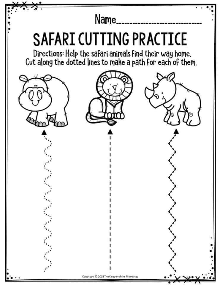 Preschool Worksheets Safari Cutting Practice - The Keeper ...