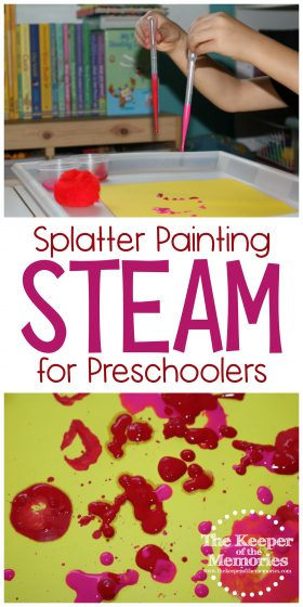 collage of Splatter Painting Preschool STEAM images with text: Splatter Painting STEAM for Preschoolers