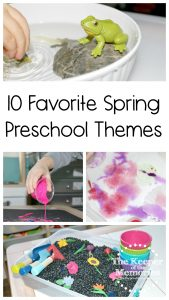 collage of preschool activities with text: 10 Spring Preschool Themes