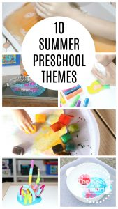 collage of preschool activities with text: 10 Summer Preschool Themes