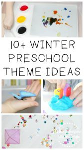 collage of preschool activities with text: 10+ Winter Preschool Themes