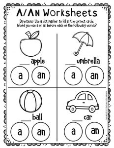 A An Worksheets for Kindergarten 1