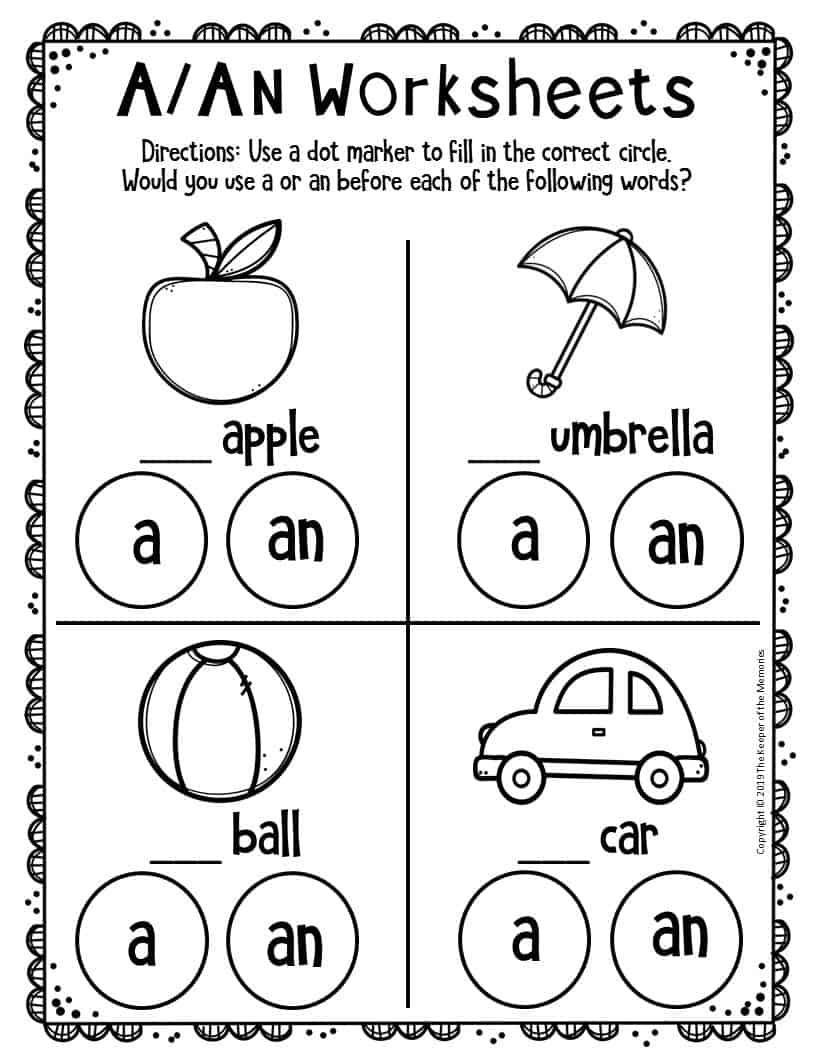 - Kindergarten Worksheets - The Keeper Of The Memories