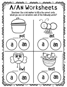 A An Worksheets for Kindergarten 2
