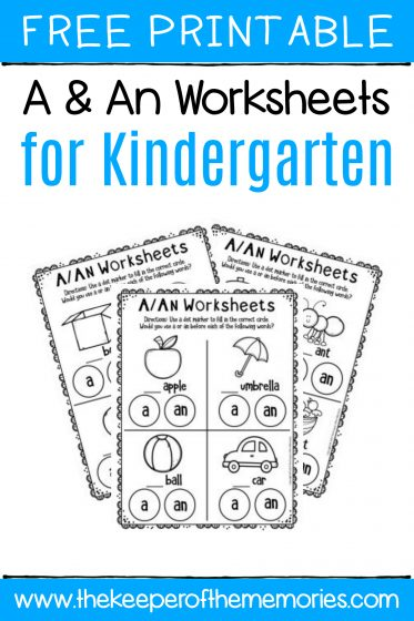 A An Worksheets for Kindergarten with text: Free Printable A & An Worksheets for Kindergarten