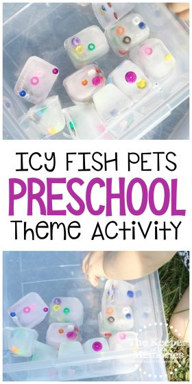 collage of preschool fish activity images with text: Icy Fish Pets Preschool Theme Activity