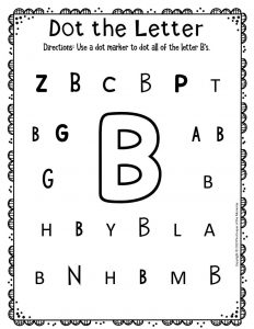 Kindergarten Worksheets Dot the Letter B