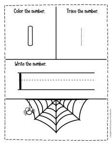 Numbers Halloween Preschool Worksheets 1
