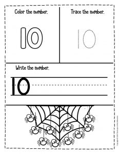 Numbers Halloween Preschool Worksheets 10