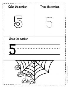 Numbers Halloween Preschool Worksheets 5