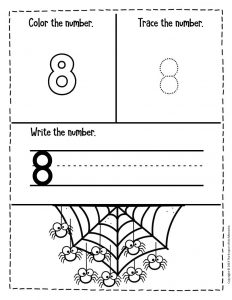 Numbers Halloween Preschool Worksheets 8