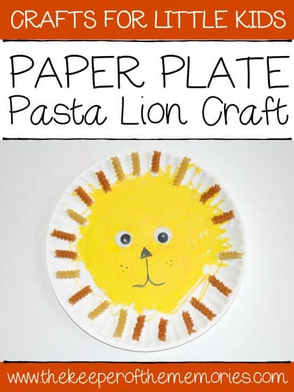 lion craft made from pasta with text: Craft for Little Kids Paper Plate Pasta Lion Craft