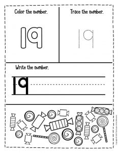 Preschool Worksheets Candy Counting Numbers 19