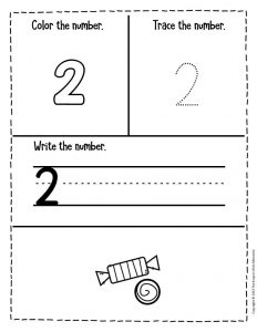 Preschool Worksheets Candy Counting Numbers 2