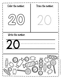 Preschool Worksheets Candy Counting Numbers 20