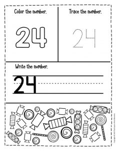 Preschool Worksheets Candy Counting Numbers 24