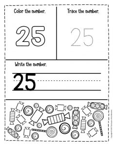 Preschool Worksheets Candy Counting Numbers 25
