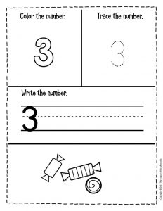 Preschool Worksheets Candy Counting Numbers 3