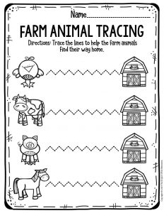 Preschool Worksheets Farm Animal Tracing