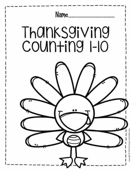Free Printable Thanksgiving Numbers Preschool Worksheets