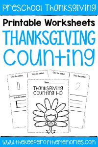 Free Printable Numbers Thanksgiving Preschool Worksheets