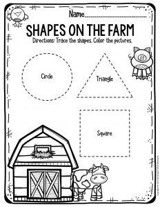 Preschool Worksheets Shapes on the Farm