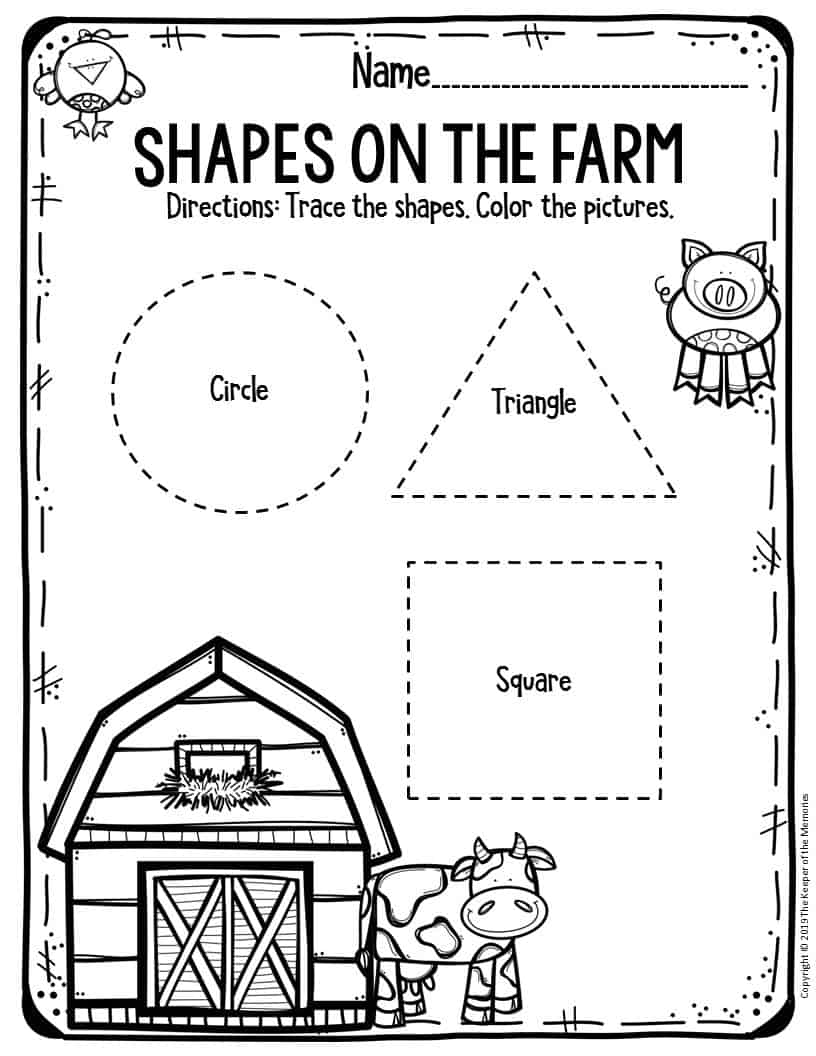 Preschool Worksheets Shapes on the Farm - The Keeper of ...