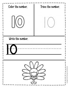 Preschool Worksheets Thanksgiving Counting 10