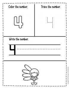 Preschool Worksheets Thanksgiving Counting 4