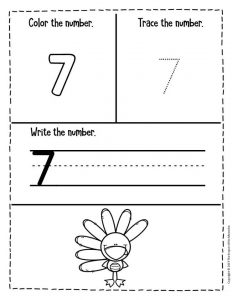 Preschool Worksheets Thanksgiving Counting 7