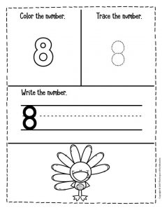 Preschool Worksheets Thanksgiving Counting 8