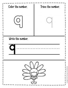 Preschool Worksheets Thanksgiving Counting 9