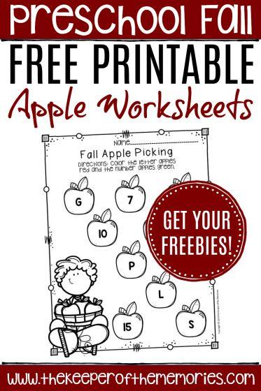 Apple Preschool Worksheets with text: Preschool Fall Free Printable Apple Worksheets Get Your Freebies!