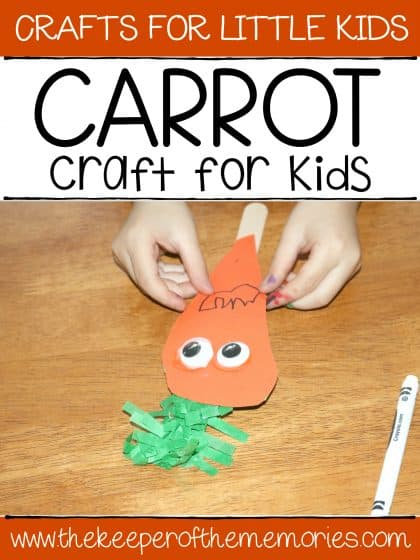 carrot puppet with text: Crafts for Little Kids Carrot Craft for Kids