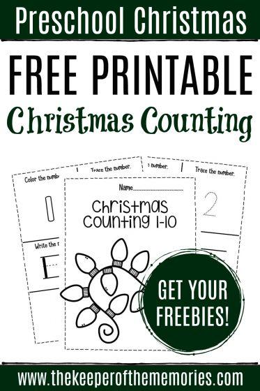 Free Printable Christmas Counting Preschool Worksheets with text: Preschool Christmas Free Printable Christmas Counting Get Your Freebies!
