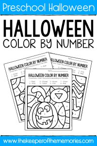 Color by Number Halloween Preschool Worksheets