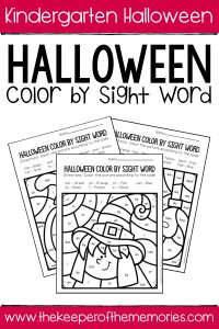 Color by Sight Word Halloween Kindergarten Worksheets with text: Kindergarten Halloween Halloween Color by Sight Word