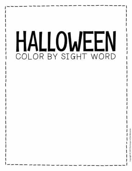 Color by Sight Word Halloween Kindergarten Worksheets
