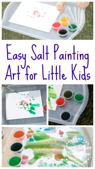 collage of salt painting images with text: Easy Salt Painting Art for Little Kids