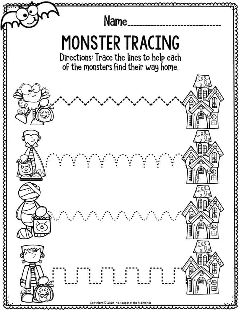 Fine Motor Halloween Preschool Worksheets Monster Tracing ...