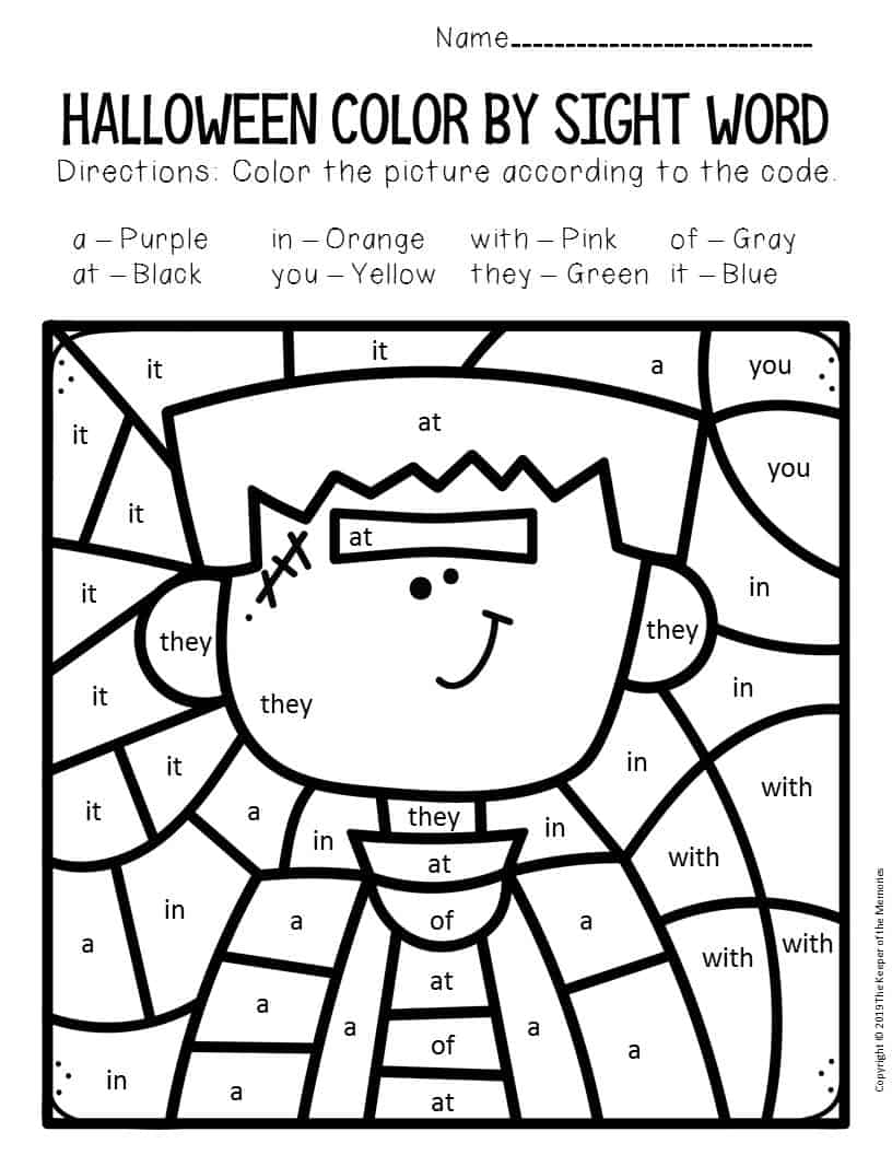 Frankenstein Color by Sight Word Halloween Kindergarten ...