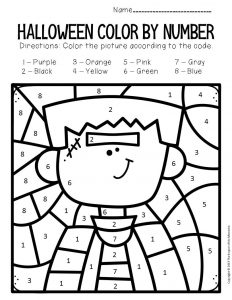 Frankstein Color by Number Halloween Preschool Worksheets