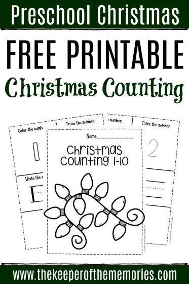 Free Printable Christmas Counting Preschool Worksheets with text: Preschool Christmas Free Printable Christmas Counting
