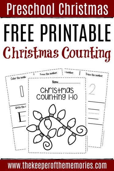 Free Printable Christmas Counting Preschool Worksheets