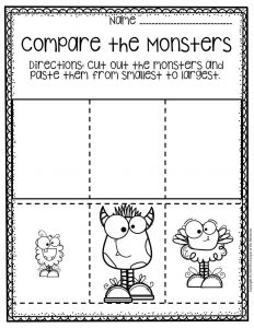Free Printable Compare the Monsters Halloween Preschool Worksheets 3