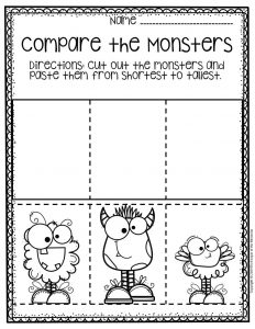 Free Printable Comparing Monsters Halloween Preschool Worksheets 1