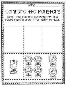 Free Printable Comparing Monsters Halloween Preschool Worksheets 2