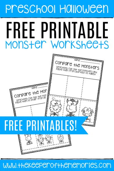 Free Printable Comparing Monsters Halloween Preschool Worksheets with text: Preschool Halloween Free Printable Monster Worksheets FREE PRINTABLES!