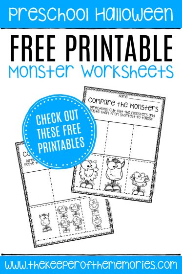 Free Printable Comparing Monsters Halloween Preschool Worksheets with text: Preschool Halloween Free Printable Monster Worksheets CHECK OUT THESE FREE PRINTABLES
